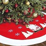 Weihnachtsbaum Decke Rund Rot 90cm/36in Weihnachtsbaumdecke Groß Weihnachtsbaum Röcke Stickerei Weihnachtsbaum Deko Christbaumständer Teppich Baumdecke Weihnachtsbaum