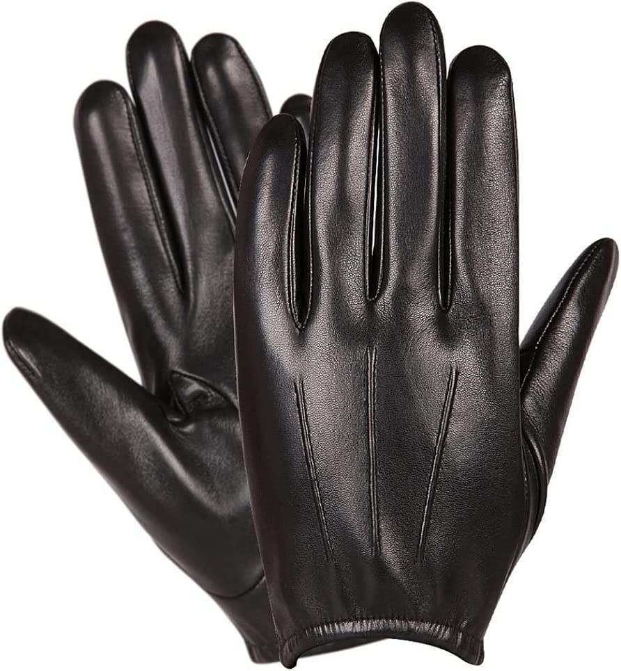 SYunxiang Men's Spring and Summer Thin Leather Gloves Brown Motorcycle Driving Touch Screen Mitten Driving Black Non-Slip Single Layer Sheepskin Glove