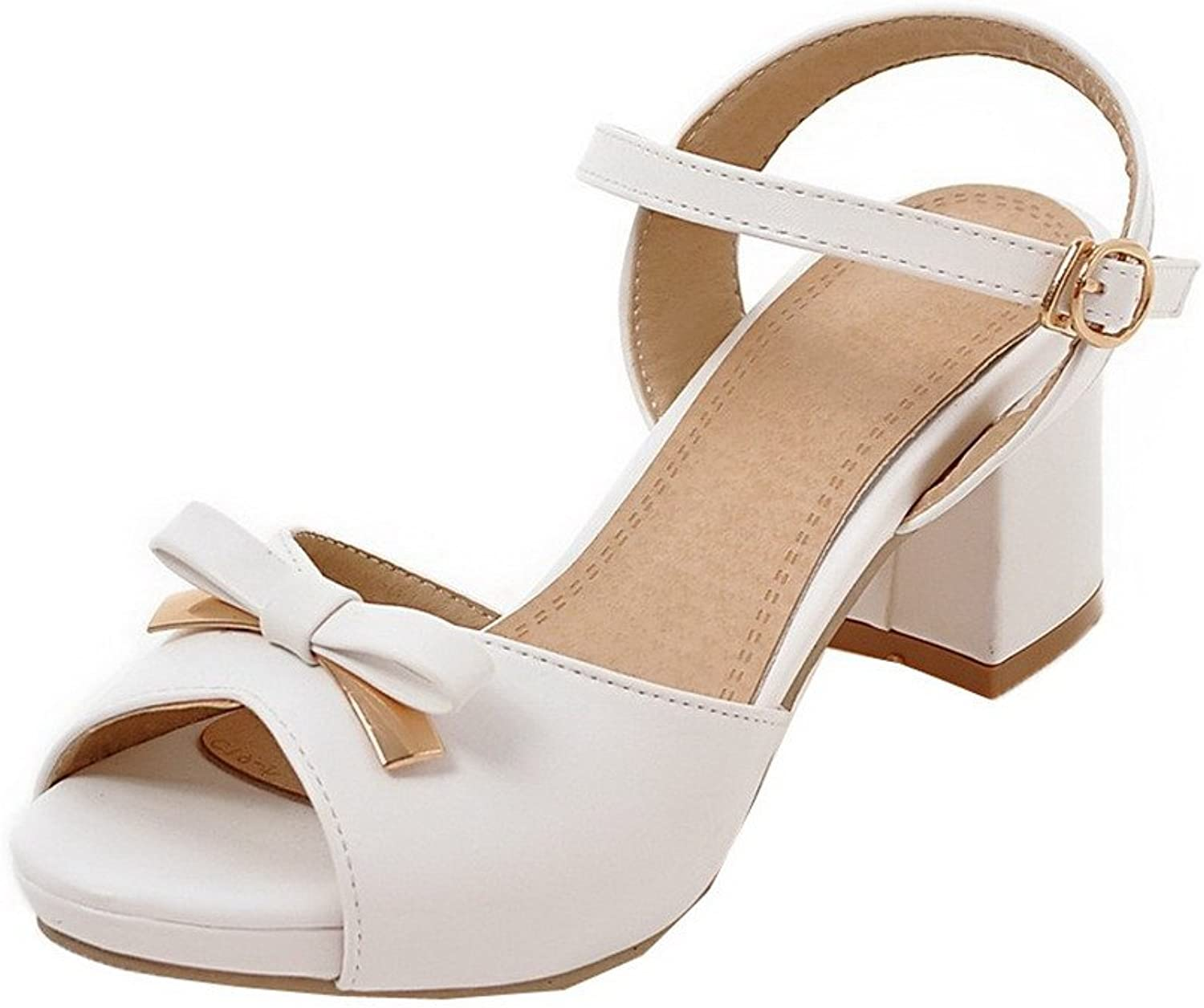 AmoonyFashion Women's Open-Toe Kitten-Heels Pu Buckle Solid Sandals