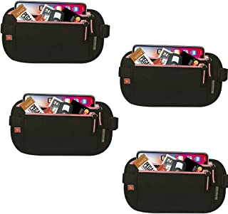Cabana Sports Travel Belt RFID Money Belt with RFID Blocking Sleeves Set for Daily Use (Black/Pink 4 Pack)