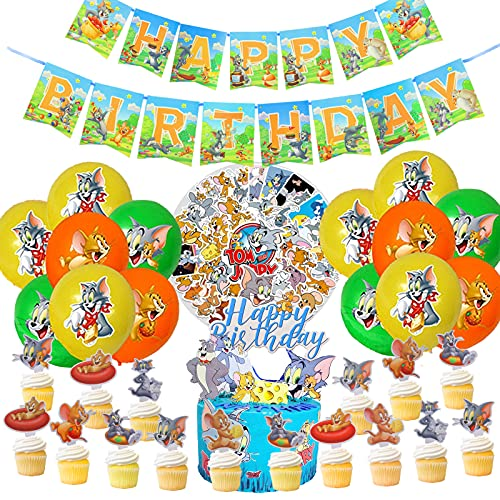 Tom and Jerry Birthday Party Supplies, Tom and Jerry Party Decorations for Boys and Girls Includes Birthday Banner, Stickers, Balloons, Birthday Cake Topper, Cupcake Toppers for Kids
