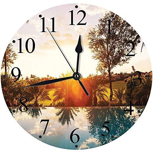 Yaoni Silencioso Wall Clock Decoración de hogar de Reloj de Redondo,Sunset Tree Hawaiian ations, Casa con Piscina en Tropics Palms Private Villa Resort Scenic,para Hogar, Sala de Estar, el Aula