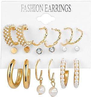 Inlaid Pearl Ladies Earrings French Vintage Gold Earrings Set of 6 Sets