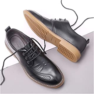 SHENTIANWEI Driving Loafers for Men Walking Shoes Slip on with Elastic Bands Microfiber Leather Super Soft Sole Solid Color Breathable Party (Color : Black Lace Up, Size : 8.5 UK)