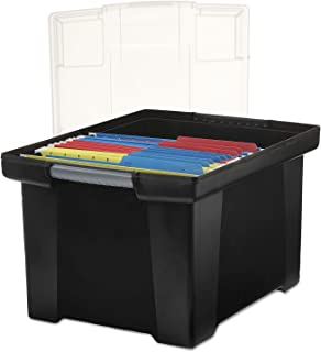 Storex Plastic File Tote Storage Box with Snap-On Lid, Letter/Legal Size, Black/Silver (61528U01C)