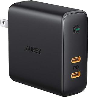 AUKEY ACアダプタ 充電器 USB-C 2ポート 急速充電器 アダプタ 63W GaN (窒化ガリウム) 採用 折畳式/PD3.0対応 iPhone XS/XS Max/XR/X、GalaxyS9、MacBook Pro、iPad Pro...