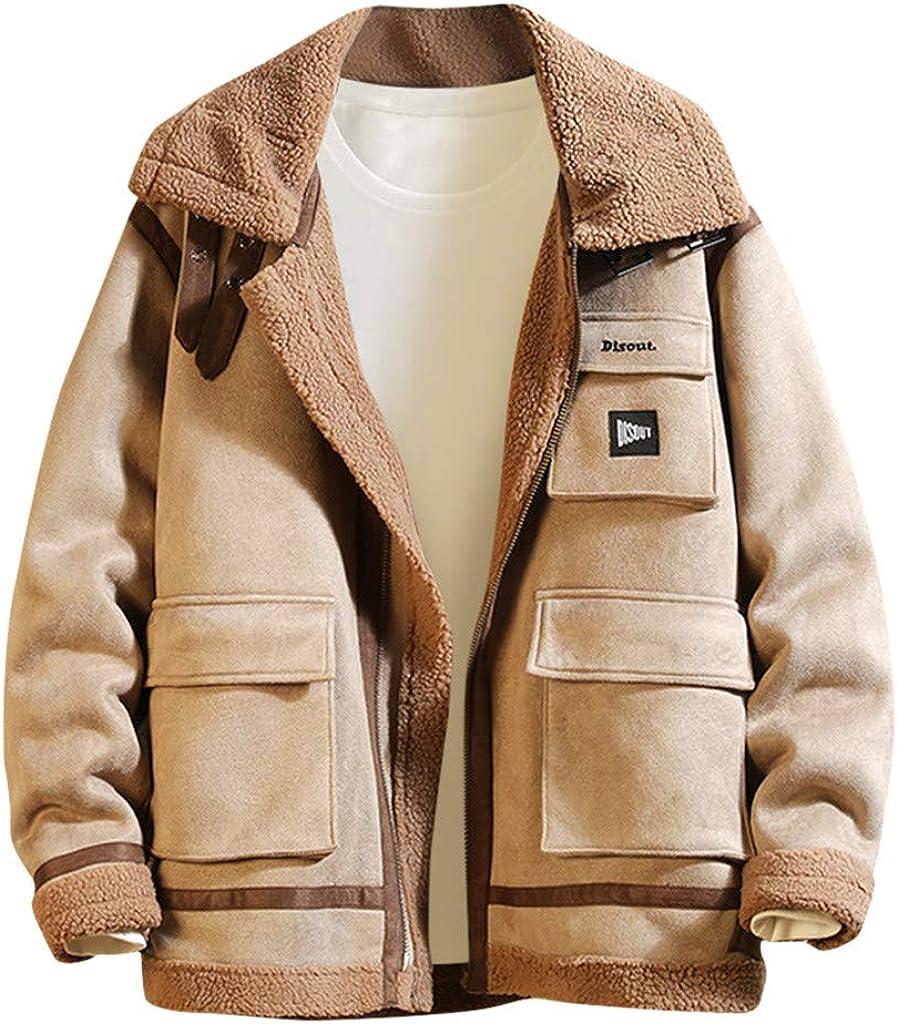 Stoota Mens Fashion Winter Warm Fleece Lapel Down Coat, Zipper Up Big Pockets Loose Style Outwear Top Jacket