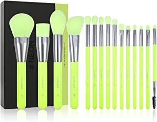 Docolor Makeup Brushes 15Pieces Neon Green Makeup Brushes Set Professional Premium Synthetic Kabuki Foundation Blending Br...