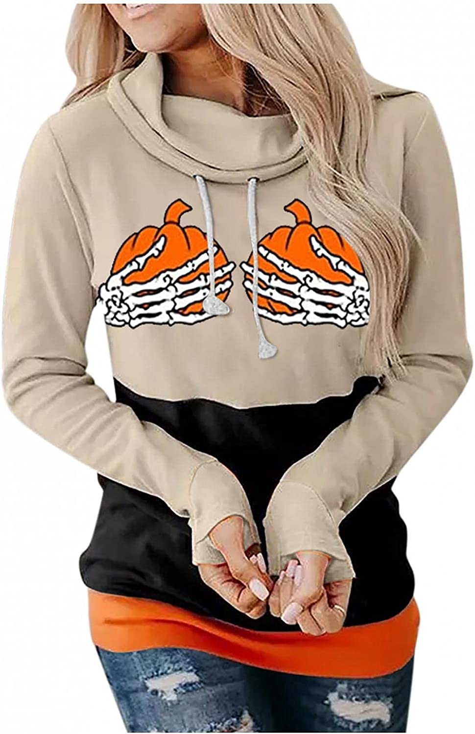 Womens Halloween Costumes, Pumpkin Graphic Long Sleeve Crewneck Pullover Tops Costumes Loose Sweaters Shirts