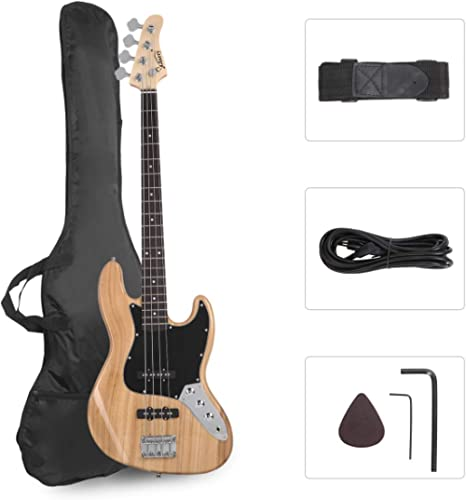 GLARRY 4 String GJazz Electric Bass Guitar Full Size Right Handed with Guitar Bag, Amp Cord and Beginner Kits (Burly ...