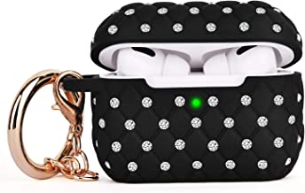 Airpods Pro Case - CAGOS Cute Airpods Pro Accessories Bling TPU Case Full Protective Hard Carrying Cover Women Girls with Shiny Crystal/Keychain for Apple Airpods 3 Charging Case (Black)