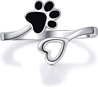 ACJFA 925 Sterling Silver Paw Print Love Heart Ring Adjustable Wrap Open Rings Jewelry for Pet Dog Cat