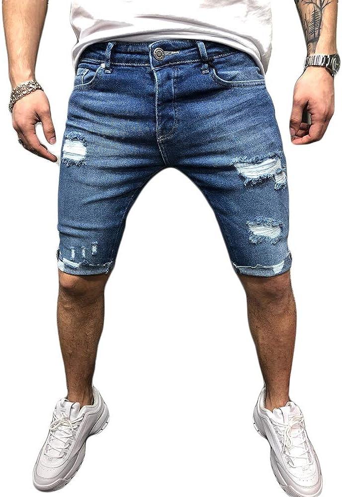 Men's Denim Shorts Stretch Ripped Slim Fit Straight Jean Denim Casual Crimping Short Pants