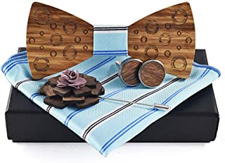 HUANGAIHUA 2019 Wooden Men's Women's Wooden Bow Tie Dot Print Bow Tie Wedding Dress Accessories Bow (Color : Light blue, S...