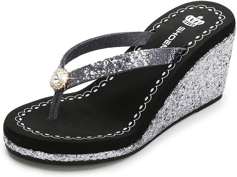 Summer Women's Beach Flip-Flops Wedge Sandals Rhinestone Decoration Comfortable Non-Slip Creative,for Daily Use