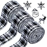 WILLBOND 3 Rolls Christmas Snowflake Ribbons Wired Edge Ribbons White and Black Plaid Burlap Ribbons Christmas Check Burlap Ribbons for Christmas Wrapping Crafts Decoration (6 Yard x 1.58 Inch)