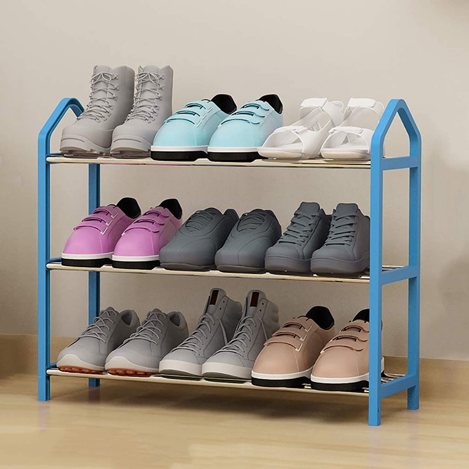 3 4 5 Layer shoes Rack Storage shoes Cabinet Small shoes Shelf Storage Shelf Space Saving Household Dorm Room Doorway Living Room Steel Pipe (color   bluee, Size   64  20  45cm)