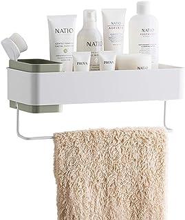 洗面台 収納 浴室用ラック 浴室収納 お風呂場 シャワーラック 粘着式 壁掛け ラック 収納ラック 大容量 (グリーン)