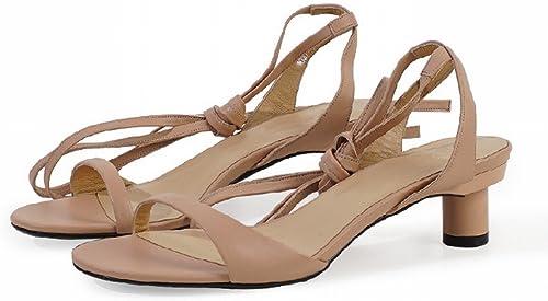 DIDIDD Bretelles de Ballet Simples D'été avec des Sandales à Doigts Visibles,Nu,36