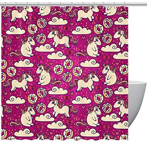 TIZORAX Doodle Eenhoorns en snoepjes douchegordijnen met haken voor badkamer, 60 x 72 Inch