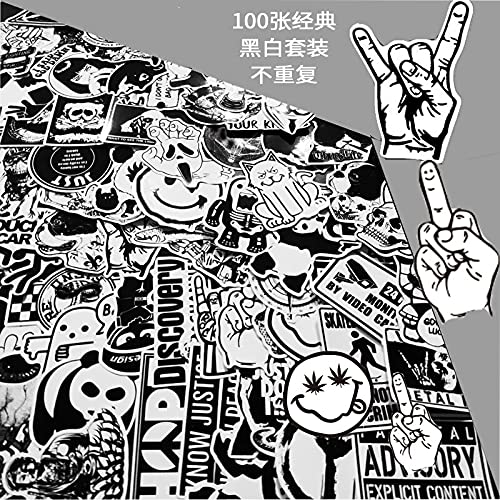 European and American Black and White Tide Waterproof Suitcase Stickers Car Laptop Mobile Phone Skateboard Guitar Suitcase Cabin Car Flat Bike Motorcycle Stickers 100 Sheets