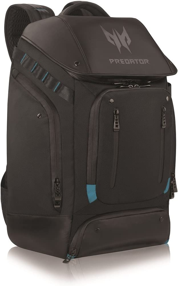 """Acer Predator Utility Gaming Backpack, Water Resistant and Tear Proof Travel Backpack Fits and Protects Up to 17.3"""" Predator Gaming Laptop, Black with Teal Accents"""