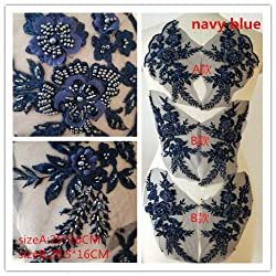Navy Blue Hand Beaded Flower Sequence DIY Decorated Costume