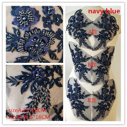 Toppa ricamata a forma di fiore con motivo di applique in pizzo 3D, grande, per abito, cucito artigianale e fai-da-te, decorazione per abito da sposa, 1 set da 3 paia, A6 blu navy