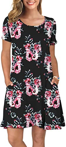 KORSIS Women's Summer Casual T Shirt Dresses Short Sleeve Swing Dress Pockets