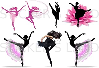 Stickers DÉCORATIFS Danseuse à découper (Planche à Stickers Dimensions 21x28cm en Papier ADHESIF Transparent)