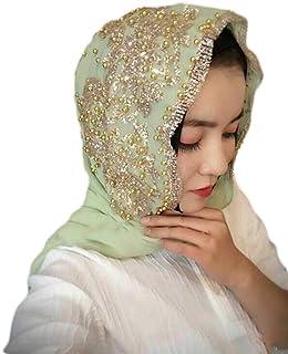 shlutesoy Black Friday 50% off Fashion Women Bead Decor Islam Muslim Ramadan Hijab Wrap Shawl Scarf Accessory
