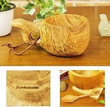 北欧フィンランド木製 本物ククサ Kuksa Pahkataide(パッカタイデ)ヴィサコイブ/カーリーバーチ 説明書 箱包装 木製ヴィンテージスプーン付き