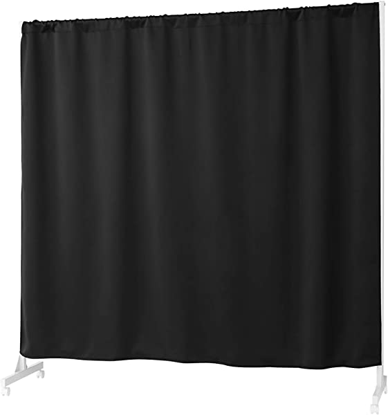 Don T Look At Me Expandable Privacy Room Divider White Frame With Black Blackout Fabric