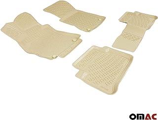 OMAC Allwetter Auto Fußmatten Automatten für E Klasse W124 1989 1995 3D Passform Hoher Rand Gummimatten Allwettermatten Beige 4 teilig