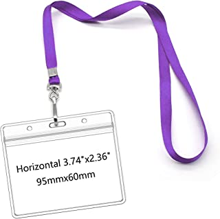 Lanyards with Id Holder Name Badges Waterproof Name tag Badge Holders with Neck Lanyard Swivel J-Hook Clip 50 Pack (Purple, Horizontal)