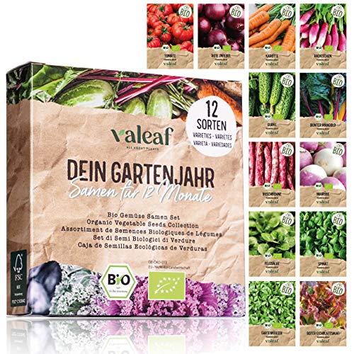 valeaf BIO Gartenjahr Samen Set I Gemüsesamen das ganze Jahr I 12 Monate Samen Gemüse I Gemüsesamen Set für Hochbeet, Balkon und Garten I Samen Set mit Gemüse Saatgut I 12er BIO Pflanzensamen Set
