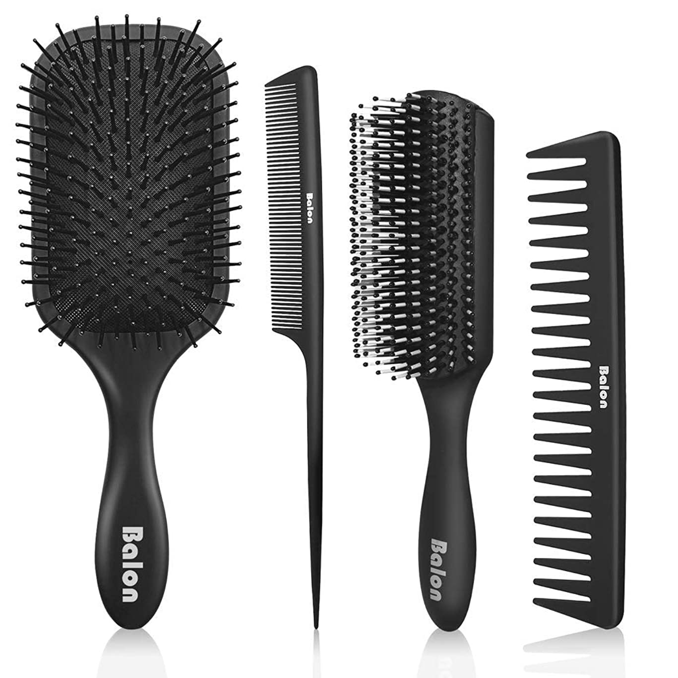 4Pcs Paddle Hair Brush, Detangling Brush and Hair Comb Set for Men and Women, Great On Wet or Dry Hair, No More Tangle Hairbrush for Long Thick Thin Curly Natural Hair (Black) uzptg80783049