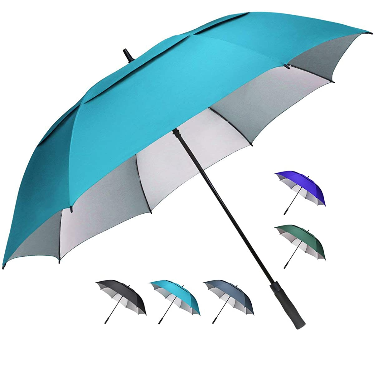 G4Free 62/68 inch Extra Large Windproof Golf Umbrella Automatic Open Umbrella Double Canopy Vented Anti UV Sun Protection Waterproof Oversize Stick Umbrellas for Men Women