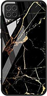 For Samsung Galaxy M62 / F62 Case marble pattern tempered glass Back cover (Black & Orange)