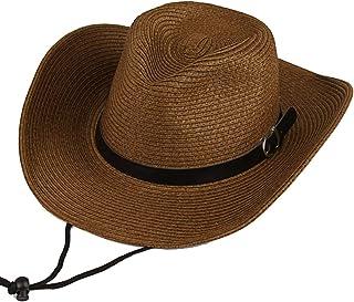 IZUMIYA(イズミヤ) 麦わら帽子 カウボーイハット ストローハット つば広 中折れ ハット 紐付き 折りたためる メンズ