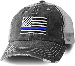 American Flag Trucker Hat With Police Thin Blue Line