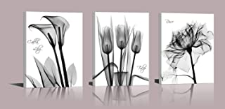 Abstract Flower Canvas Print Set Of 3 Lilies Tulips Roses Painting Print Floral Poster Gray Black White Flower Modern Design Photo Girls Home Wall Decoration Art