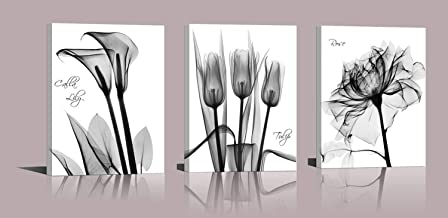 Abstract Flower Canvas Print Set of 3 Lilies Tulips Roses Painting Print Floral Poster Gray Black White Flower Modern Design Photo Girls Home Wall Decoration Art 16X36 Inch A