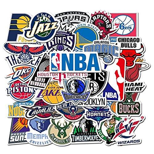 XXCKA Juego de 32 Pegatinas del Equipo de Baloncesto de la NBA, Impermeables, para patineta, Equipaje, Cuaderno, Graffiti
