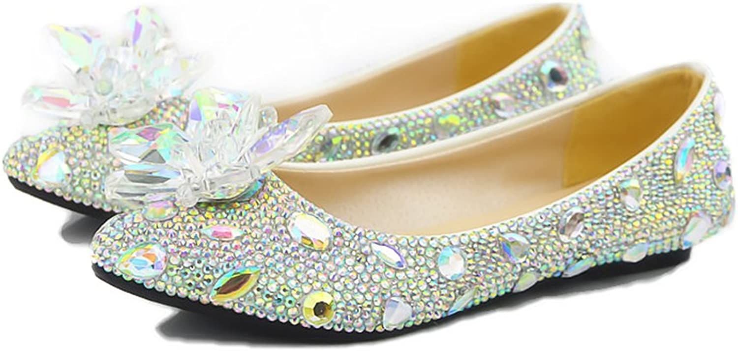 Lacitena OEM Crystal Wedding Women Flat Dress shoes Bling Bling Autumn Pearl Women Flat Dress shoes