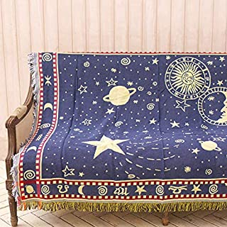 AIVIA Throw Blanket Tapestry with Tassels for Couch Bed Soft Cotton Woven Knit Reversible Slipcover for Chair Sofa Living Room Bedroom Wall Decor, Sun Moon Starry for Kids, Blue Beige Red, 50 x 70