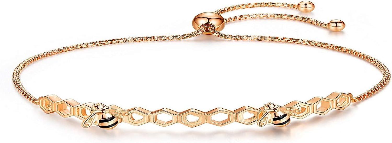 Presentski 18K Rose Gold Bee Sterling Seasonal Wrap Introduction New arrival Adjust Silver 925 Bracelet