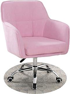 Silla de Escritorio de Oficina ergonómica Silla giratoria con ruedas, silla de escritorio para computadora, tela de terciopelo y diseño de pie de nailon, almohadilla de cojín grueso flexible para ej