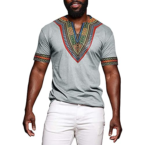 3dbd049f7 Huiyuzhi Men's African Print Dashiki T-Shirt Summer Short Sleeve Fashion  Tops Tee