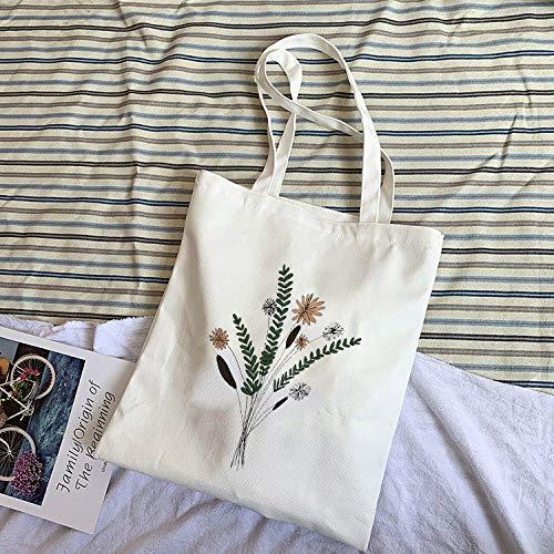 UNUStyle Shopper A Spalla Harajuku Borsa Bianca Volantini Stampa Piante creatività Casual Pieghevole Riutilizzabile Durevole Eco Tinta Unita Multiuso